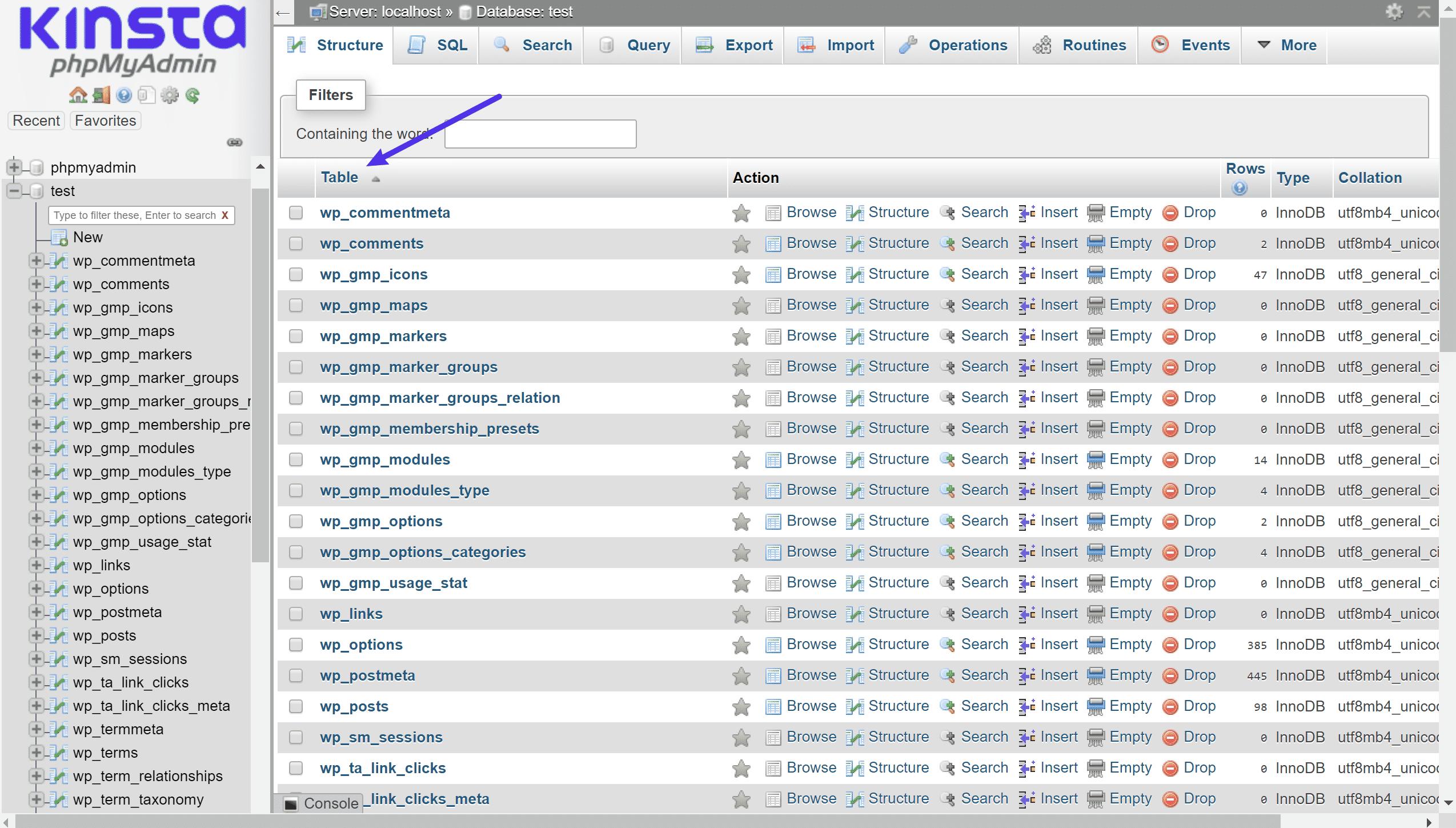Ejemplo de tablas distintas en MySQL