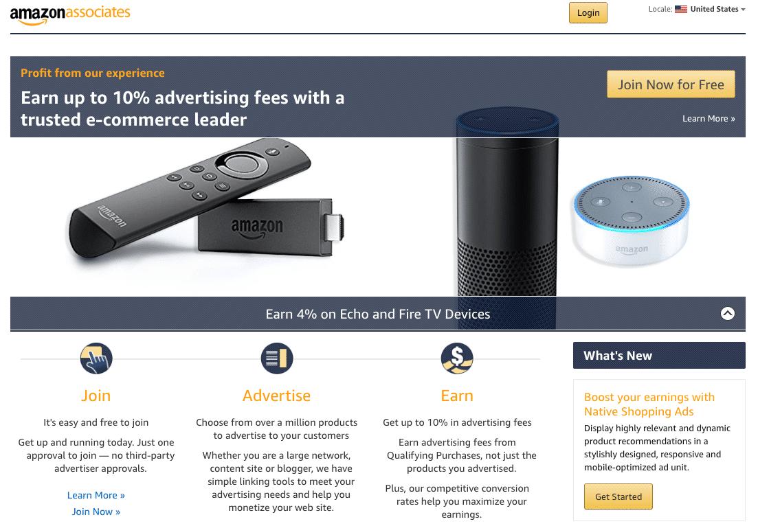 Website ideas: Amazon Associates Homepage
