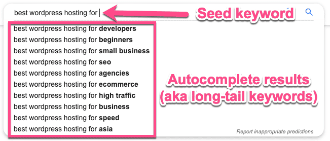 Autocomplete long-tail keywords