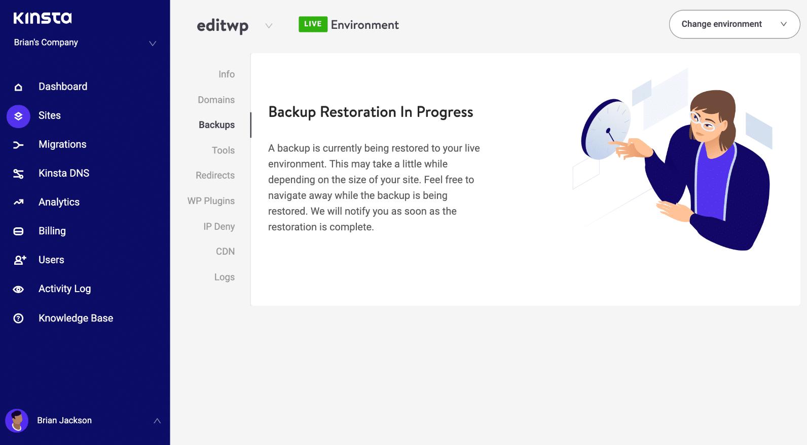 WordPress backup restoration in progress