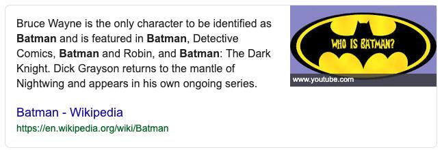 Batman featured snippet
