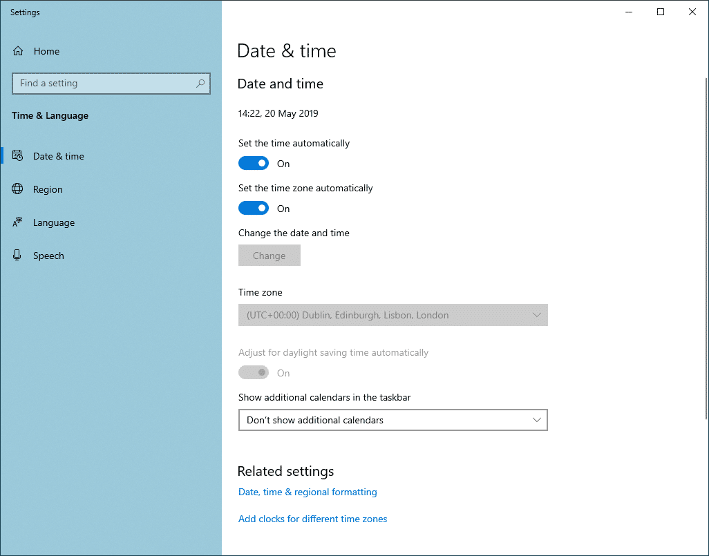 Date and time preferences in Windows 10