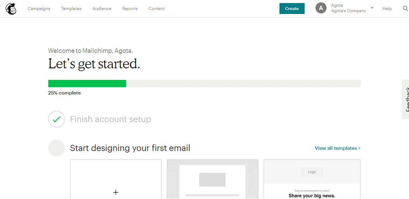 Design first email in Mailchimp