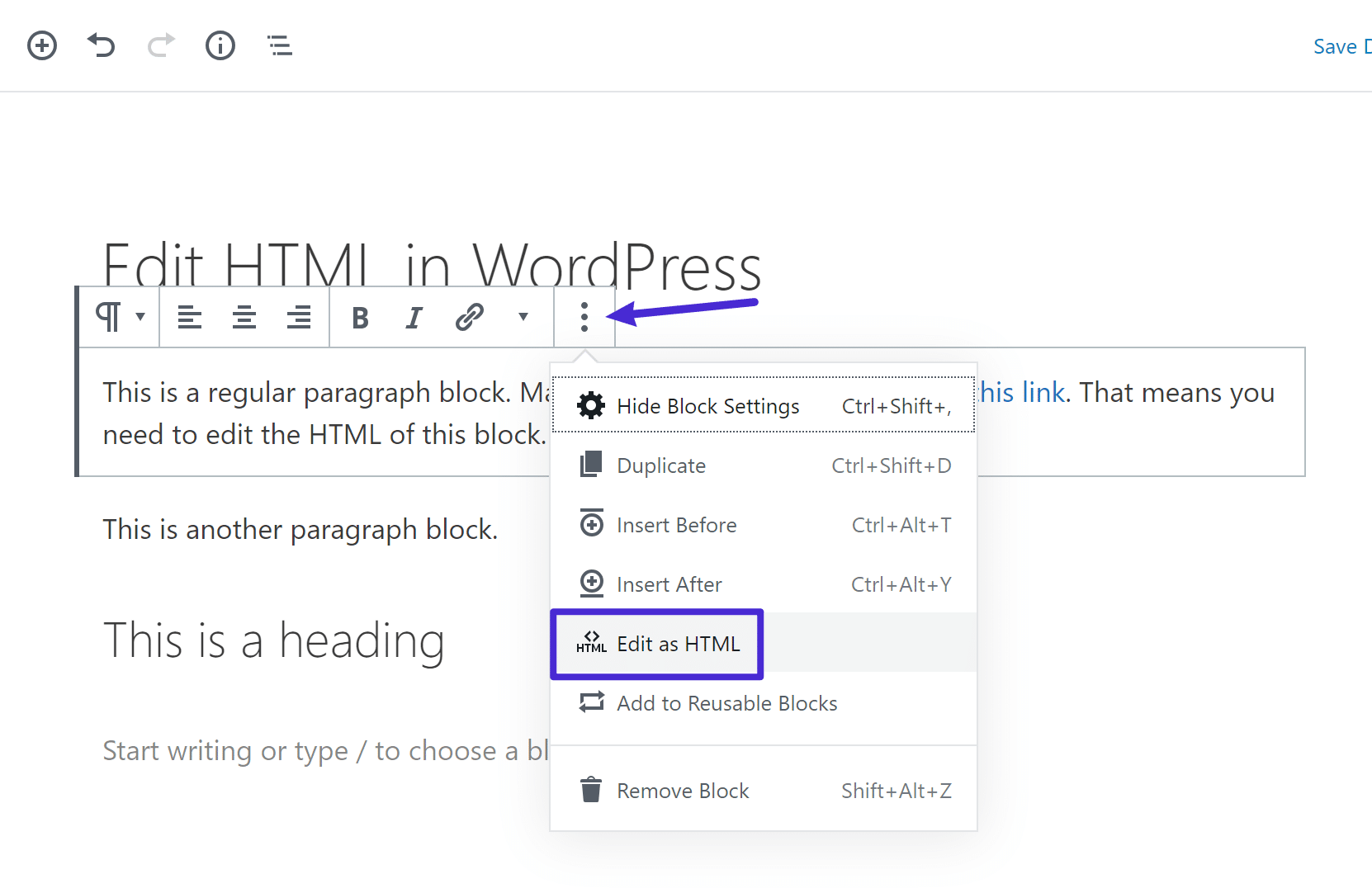 How to edit HTML in WordPress block
