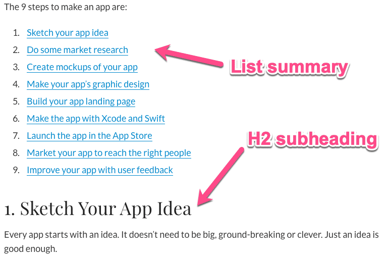 Featured snippet structure
