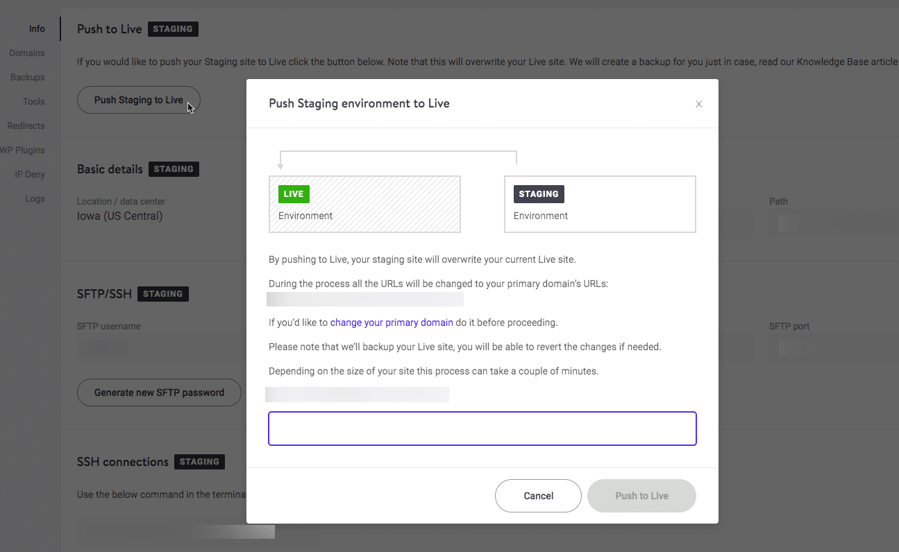 Kinsta push staging to live