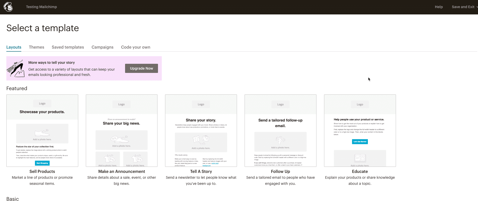 Email layouts in Mailchimp