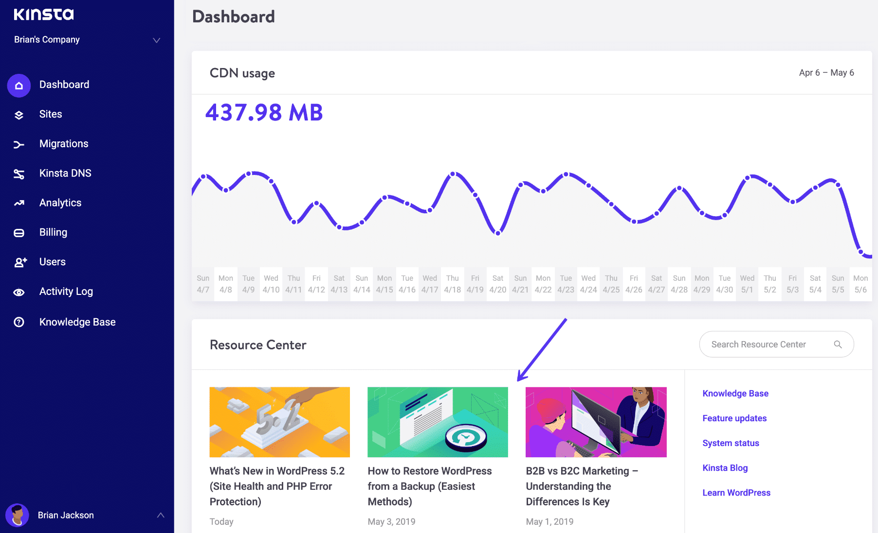 MyKinsta Resource Center