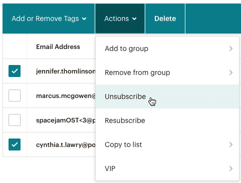 Mailchimp unsubscribe audience to clean up list