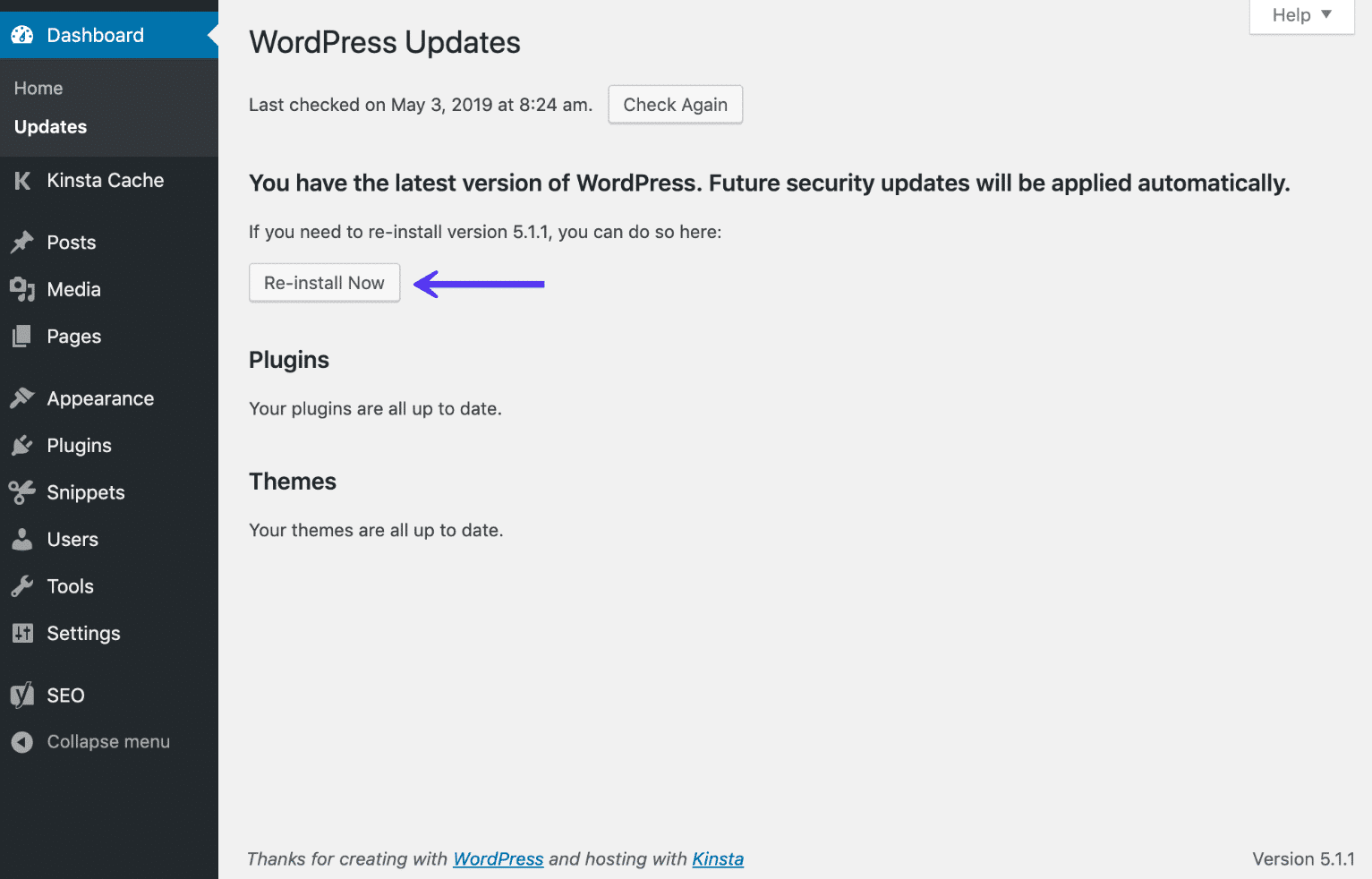 WordPress dashboard re-install now option