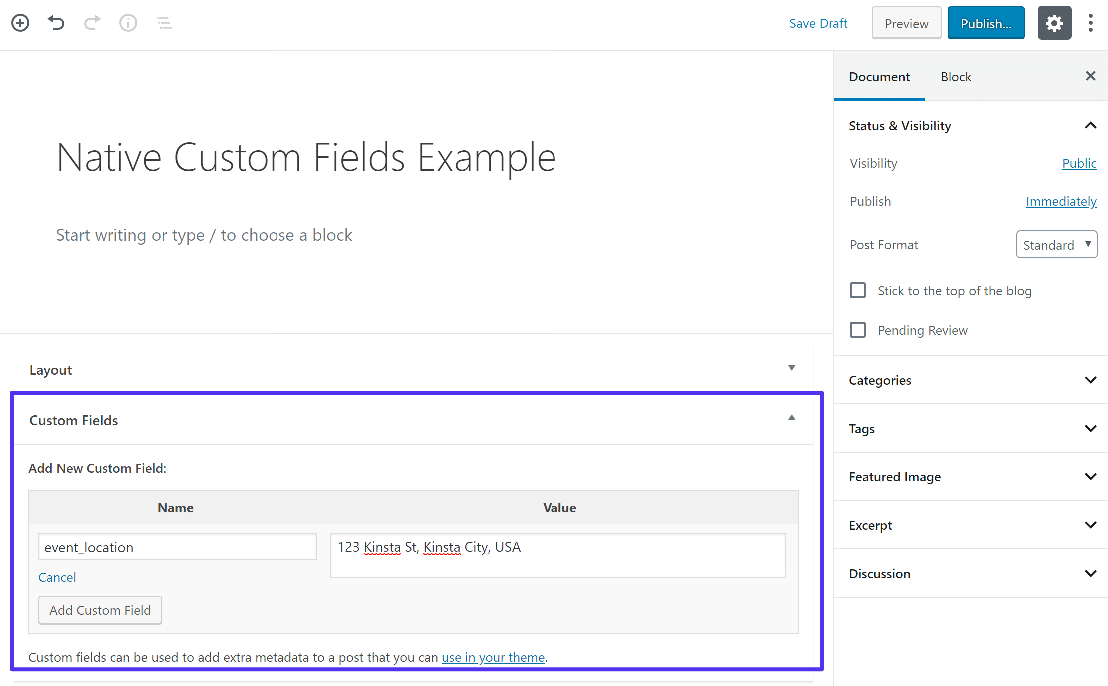 The built-in WordPress custom fields functionality