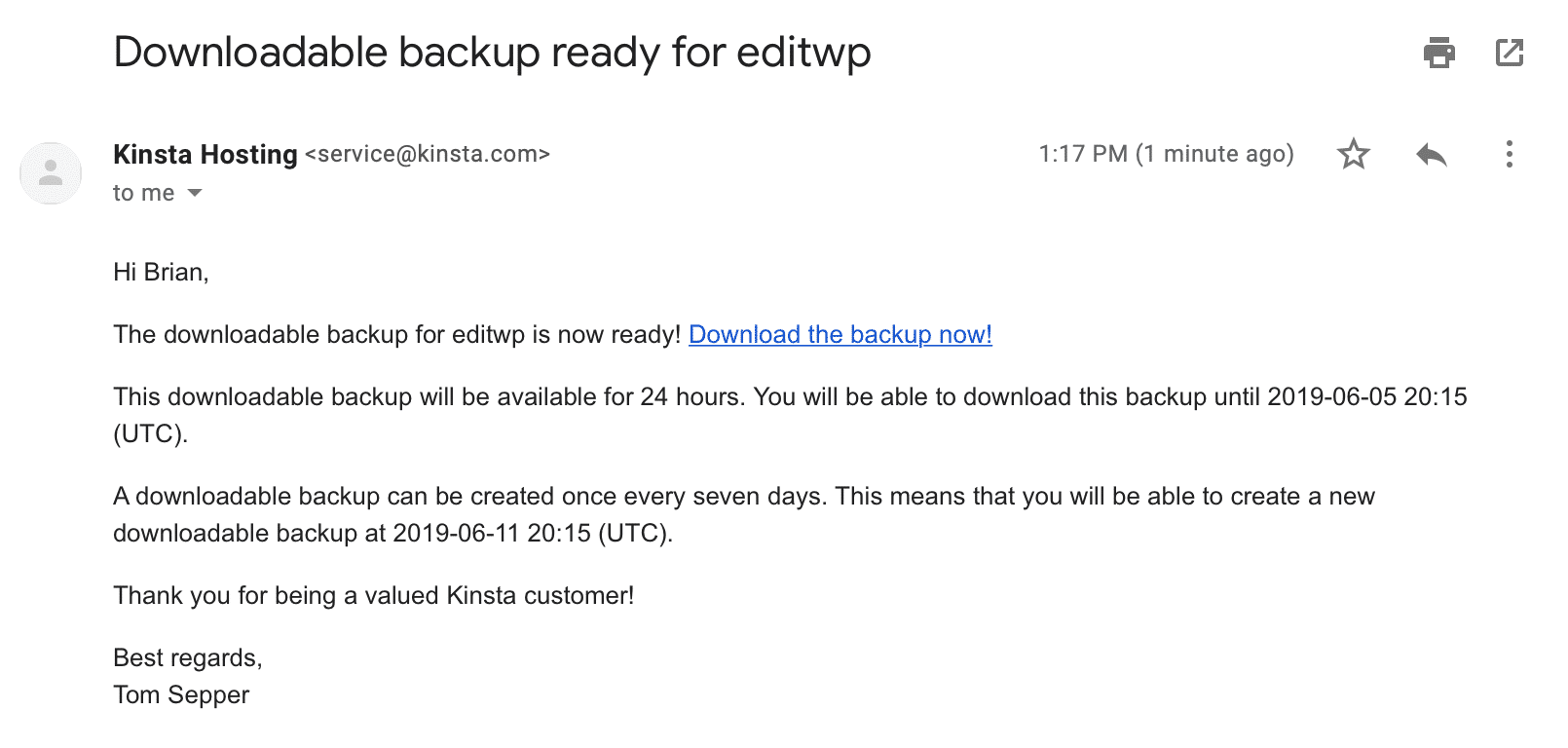Downloadable backup email