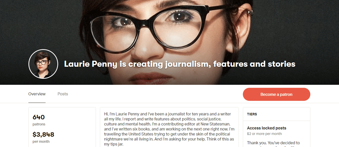 Laurie Penny on Patreon