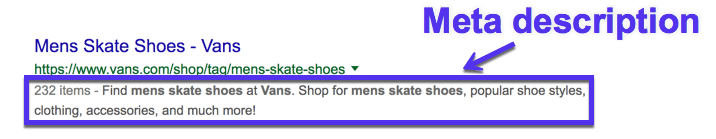 Meta description in SERPs