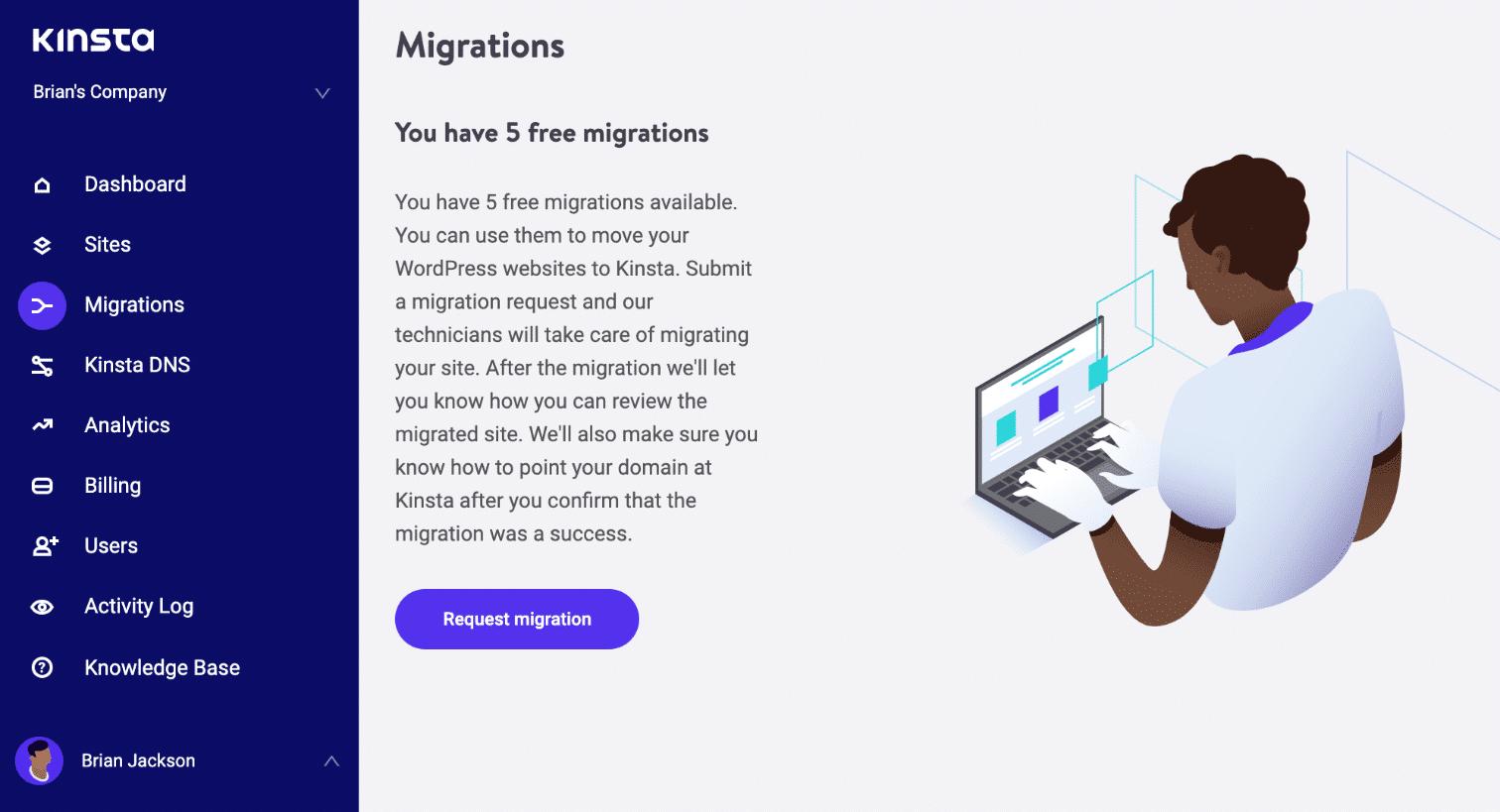 Migrations gratuites MyKinsta