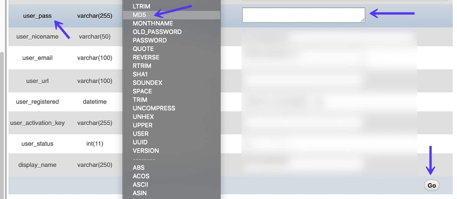 Reset password in PhpMyAdmin