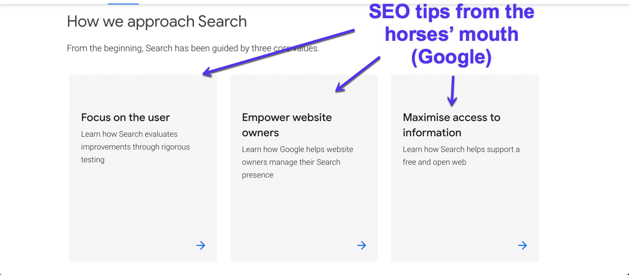SEO tips from Google