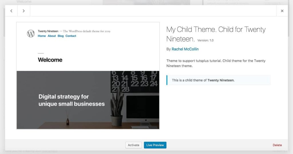 The theme page in WordPress with screenshot
