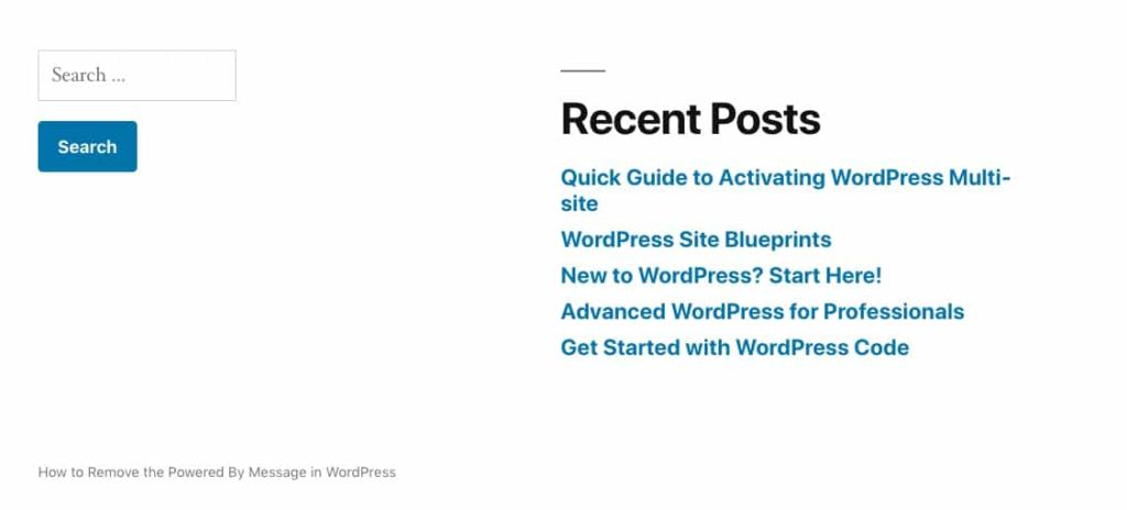 The Twenty Nineteen footer with 'powered by WordPress' removed