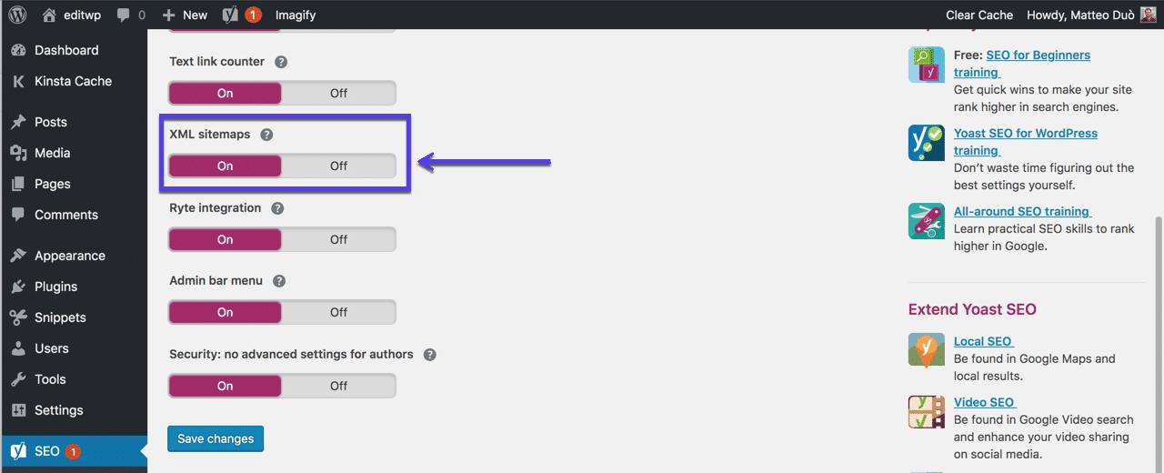 XML sitemaps in Yoast plugin