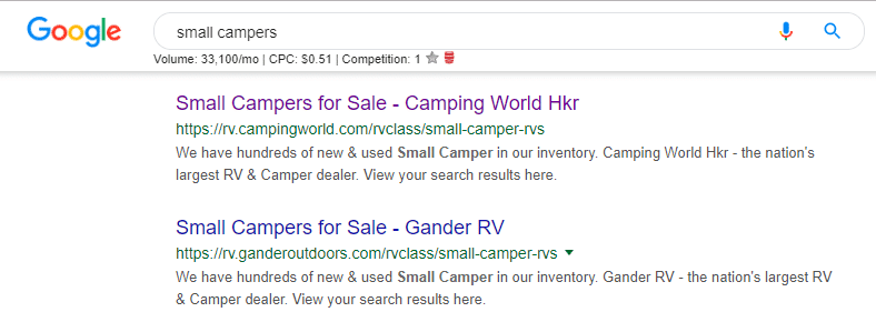 Search Intent Example