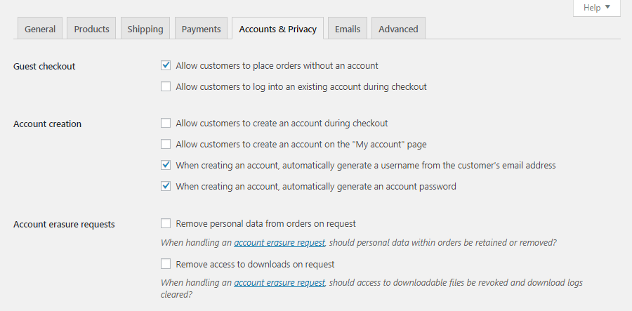 WooCommerce Accounts & Privacy settings