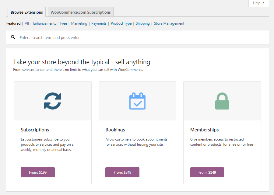 The WooCommerce Extensions tab