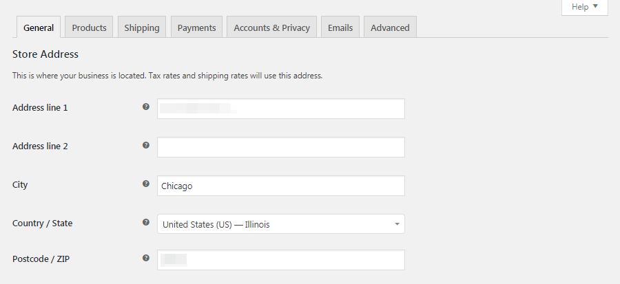 WooCommerce General settings