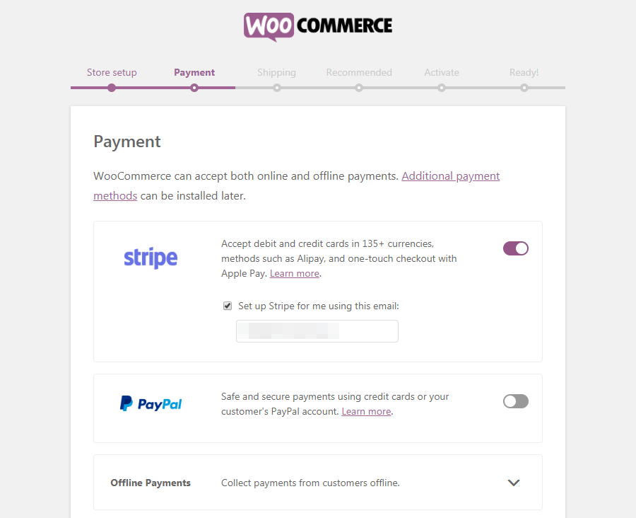 The WooCommerce Payment page