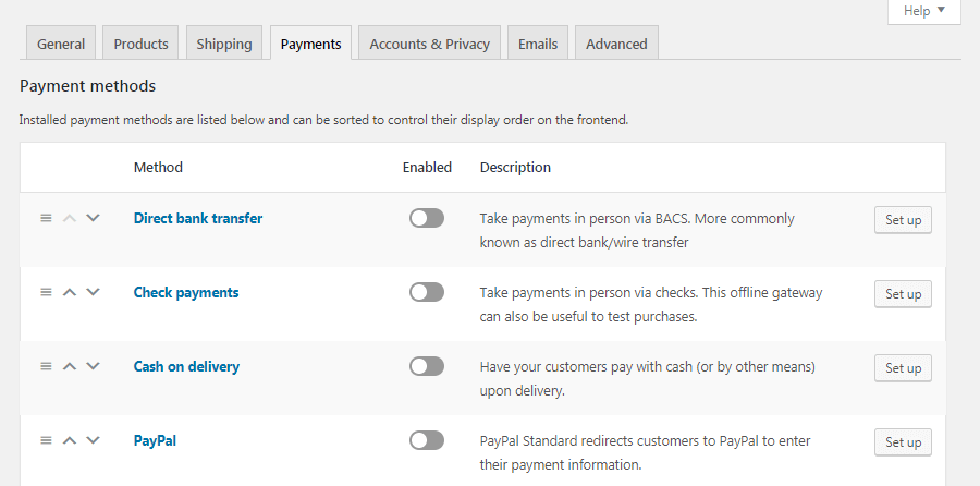 WooCommerce Payments settings