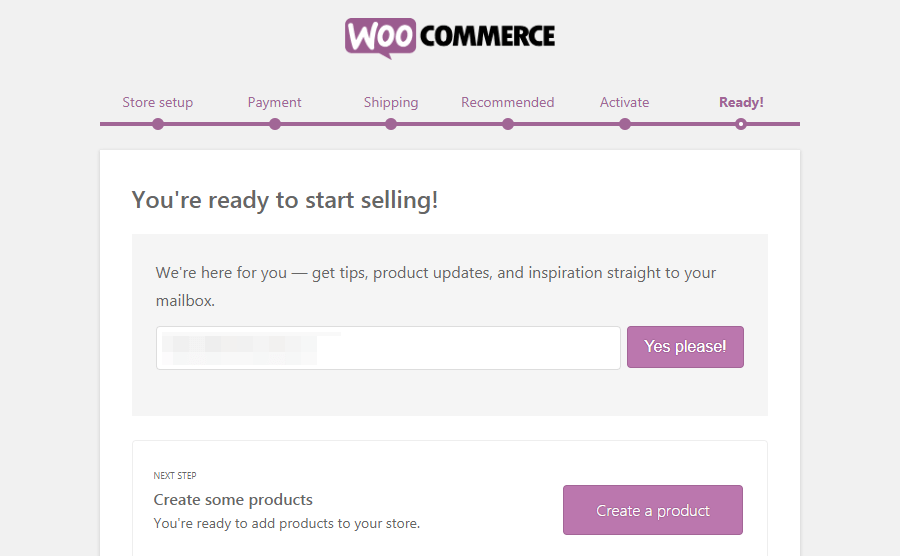 The WooCommerce Ready page