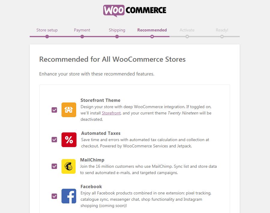 La página recomendada de WooCommerce.