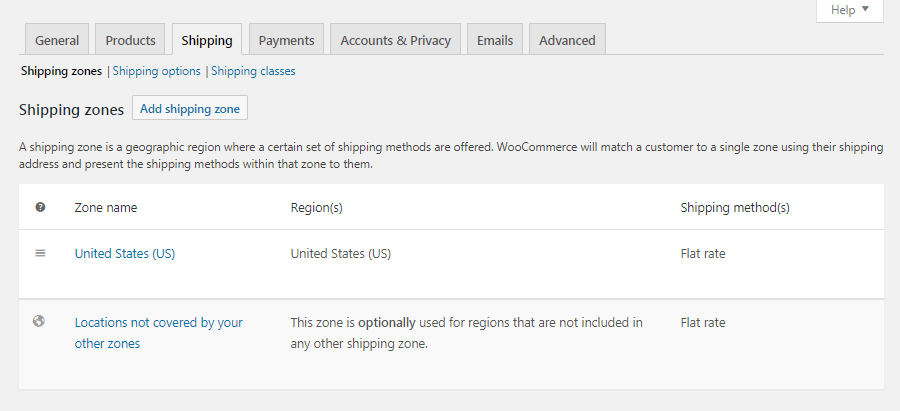 WooCommerce Shipping settings
