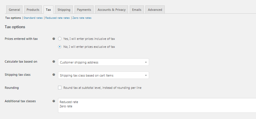 WooCommerce Tax settings