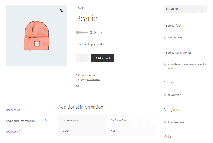 WooCommerce product with attributes