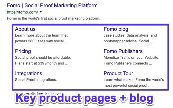 Brand awareness google sitelinks