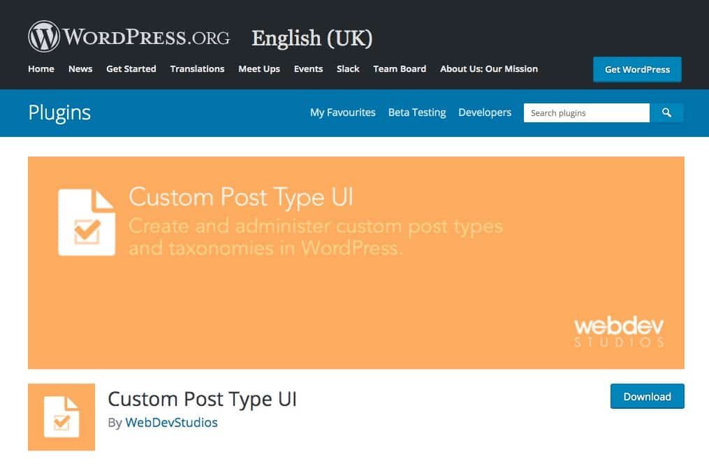The Custom Post Type UI plugin