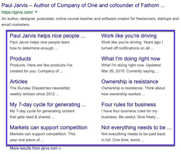 Deep link google sitelinks