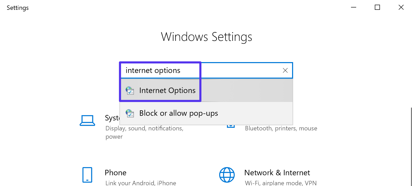 How to access Internet Options in Windows