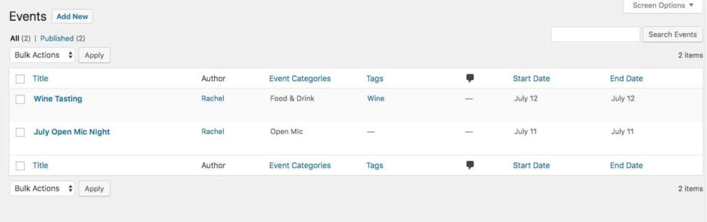 Events created by the Events Calendar plugin