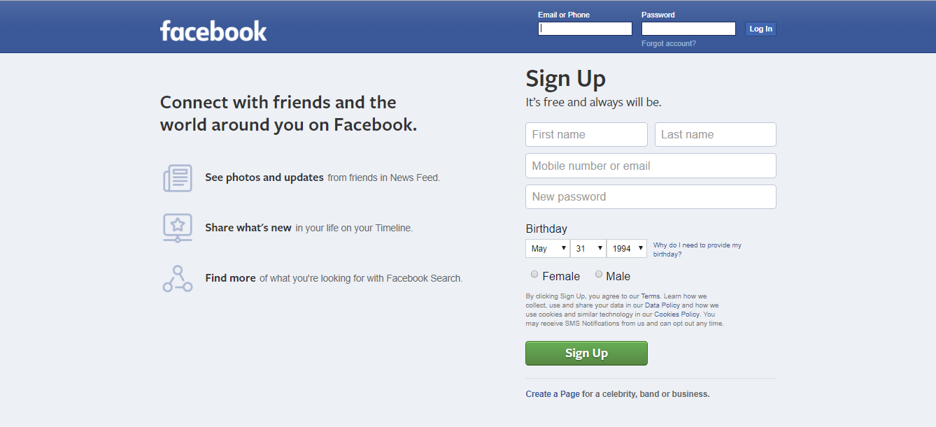 The homepage of Facebook