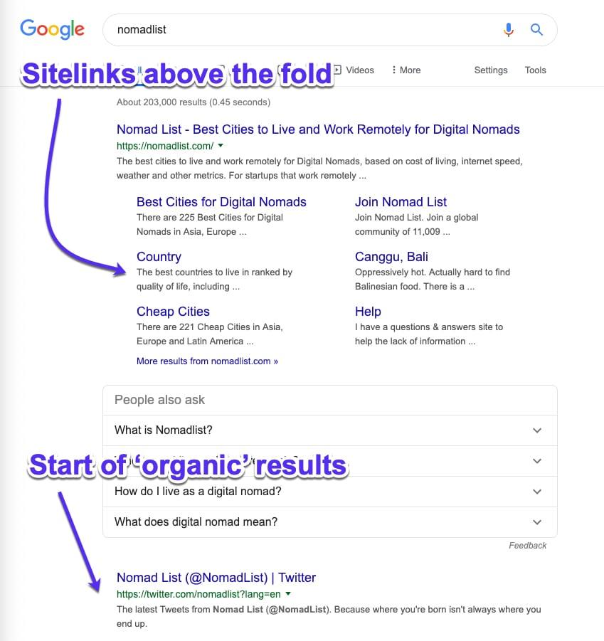Liens de site Google sur l'écran