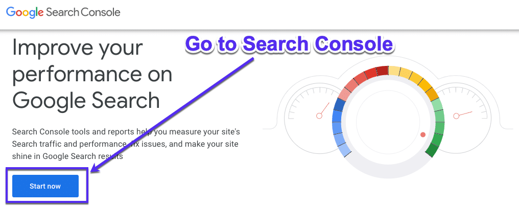 Google Search Console's Sign up process