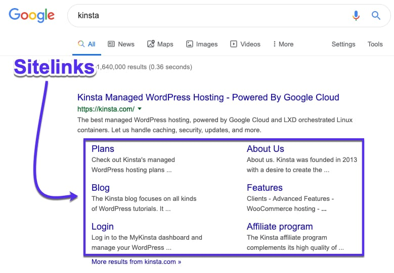 Google sitelinks in serps