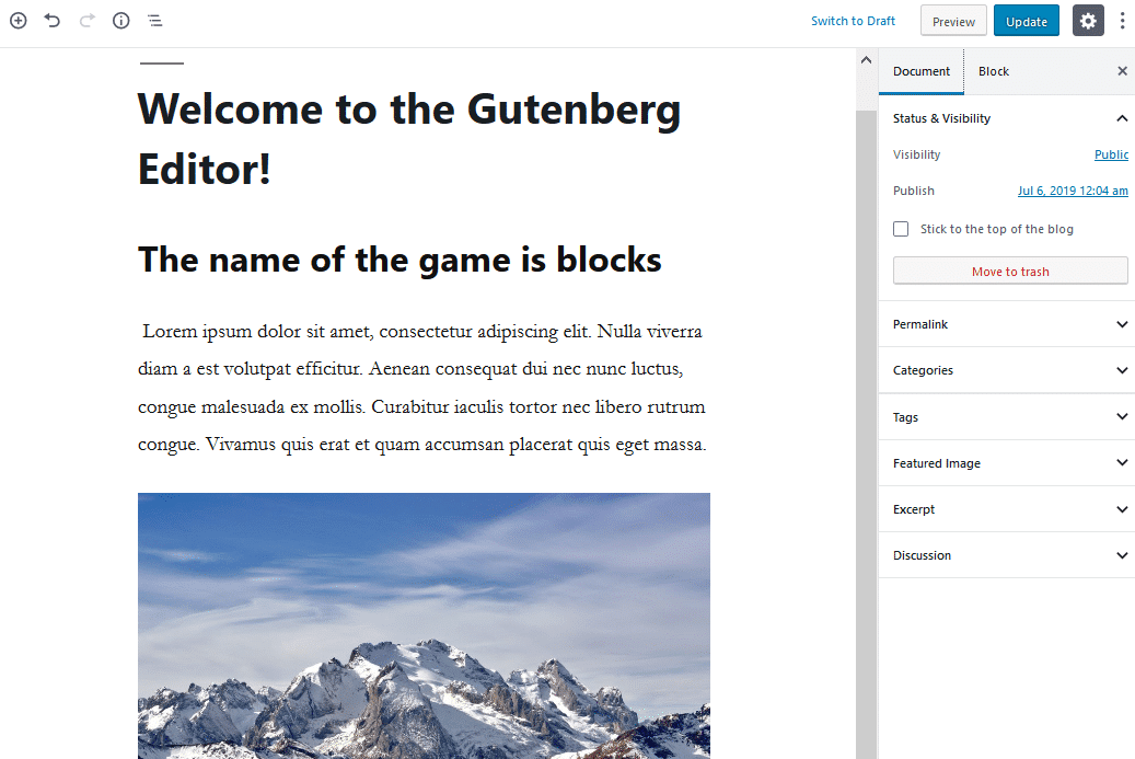 gutenberg editor interface