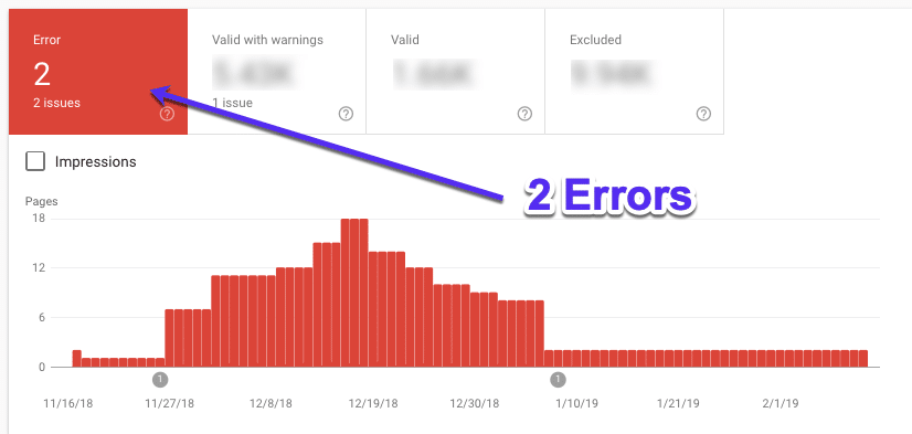 Errors in Google Search Console