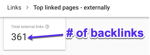 Check the number of backlinks in Google Search Console