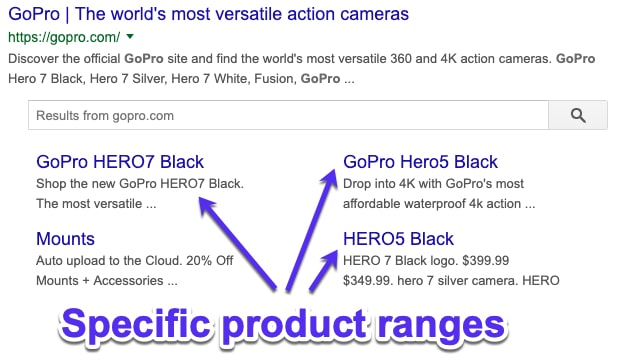 Product ranges Google sitelinks