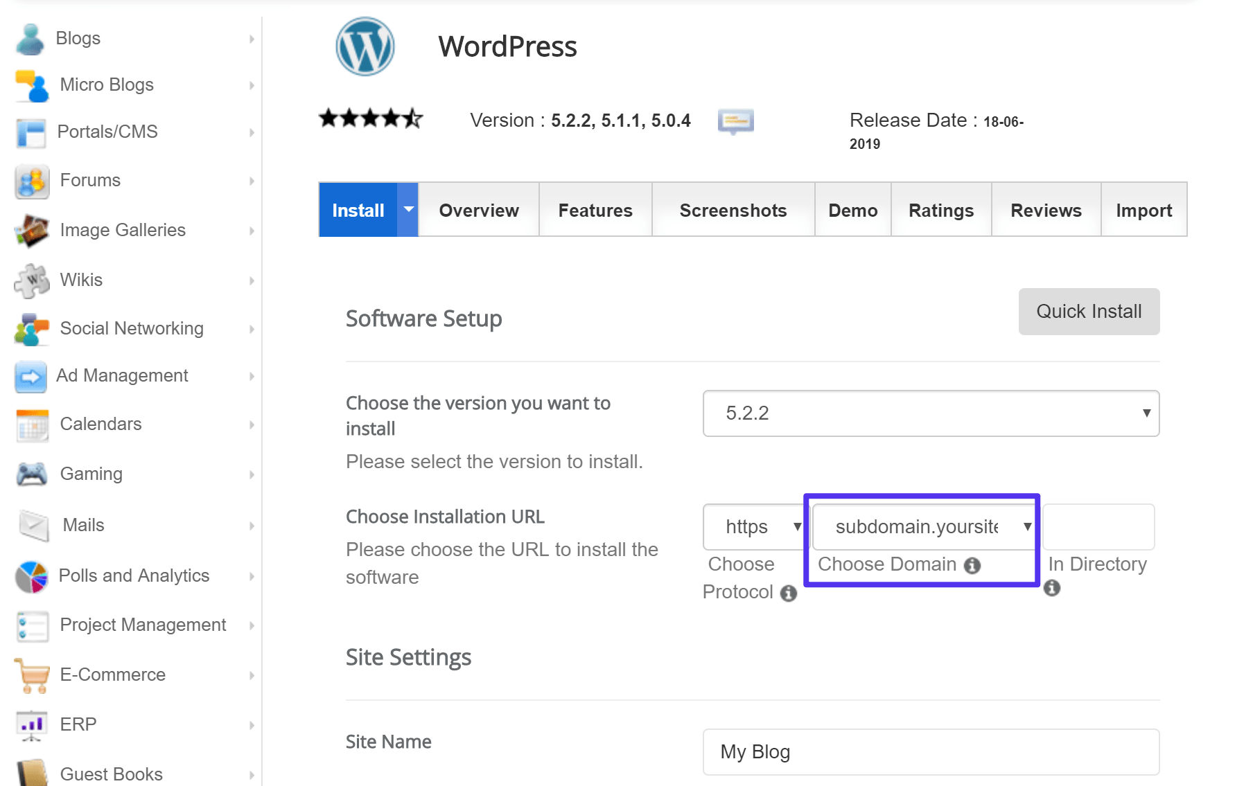 How to install WordPress on a subdomain with an autoinstaller