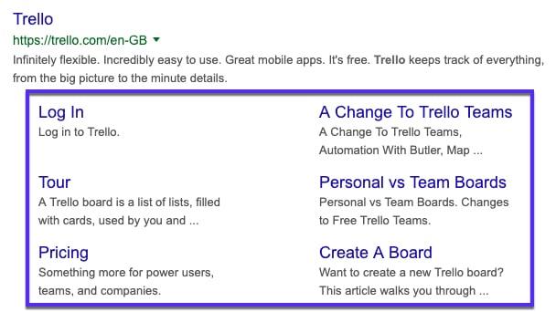 Trello Google sitelinks